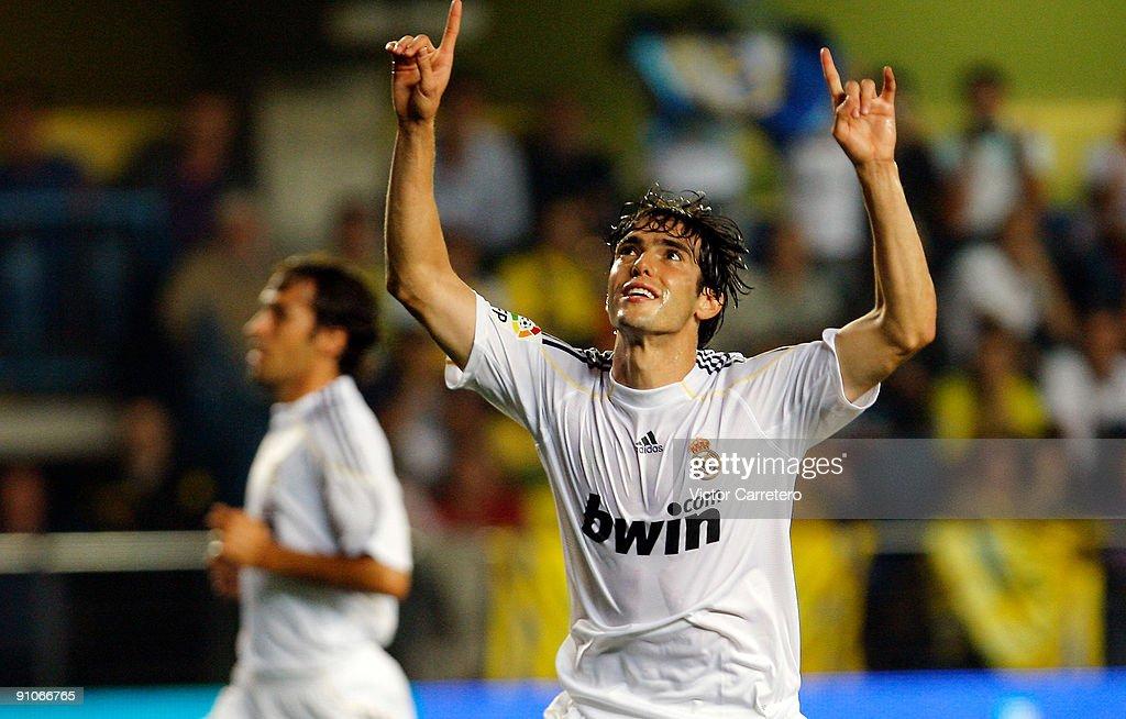 Kaka of Real Madrid celebrates after scoring during the La Liga match between Villarreal and Real Madrid at El Madrigal on September 23 2009 in...