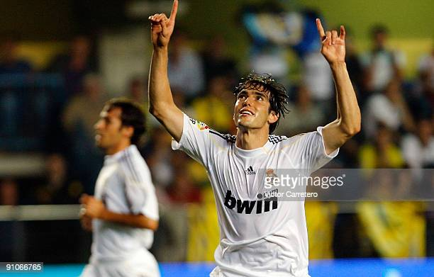 Kaka of Real Madrid celebrates after scoring during the La Liga match between Villarreal and Real Madrid at El Madrigal on September 23 2009 in...