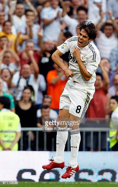 Kaka of Real Madrid celebrates after scoring during the La Liga match between Real Madrid and Tenerife at Estadio Santiago Bernabeu on September 26...