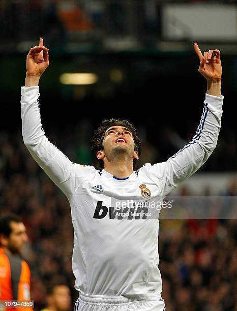Kaka of Real Madrid celebrates after scoring Real's fourth goal during the La Liga match between Real Madrid and Villarreal at Estadio Santiago...