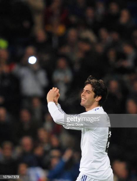 Kaka of Real Madrid celebrates after scoring Real's fourth goal during the La Liga match between Real Madrid and Villarreal at Estadio Santiago...