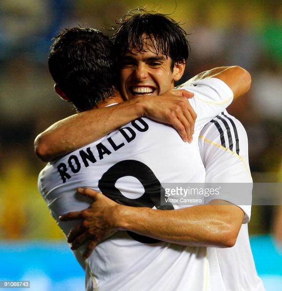 Kaka of Real Madrid celebrates his goal with Cristiano Ronaldo during the La Liga match between Villarreal and Real Madrid at El Madrigal on...