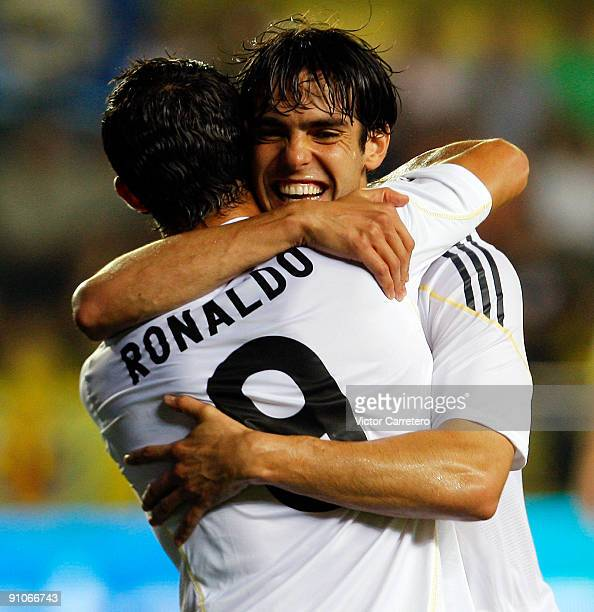 Kaka of Real Madrid celebrates his goal with Cristiano Ronaldo during the La Liga match between Villarreal and Real Madrid at El Madrigal on...