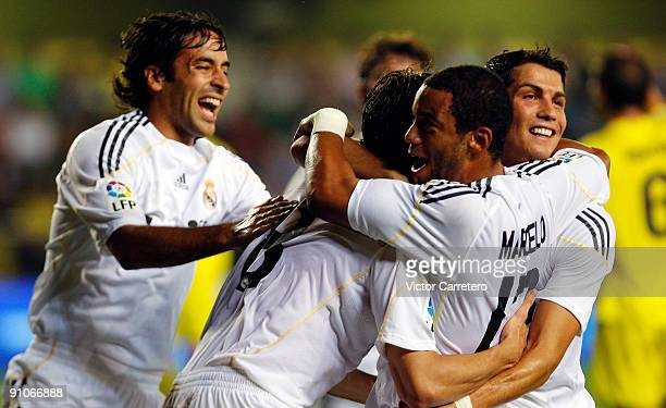 Kaka of Real Madrid celebrates his goal with his teammates Marcelo Cristiano Ronaldo and Raul Gonzalez during the La Liga match between Villarreal...