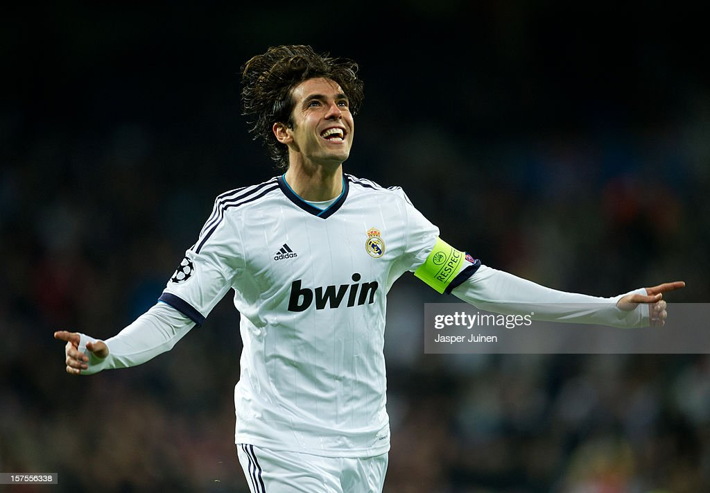 Kaka of Real Madrid celebrates scoring during the UEFA Champions League Group D match between Real Madrid CF and Ajax Amsterdam at the Estadio Santiago Bernabeu on December 4, 2012 in Madrid, Spain.
