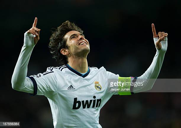 Kaka of Real Madrid celebrates scoring during the UEFA Champions League Group D match between Real Madrid CF and Ajax Amsterdam at the Estadio...