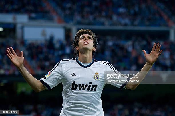 Kaka of Real Madrid CF celebrates scoring their third goal during the La Liga match between Real Madrid CF and Real Valladolid CF at Estadio Santiago...