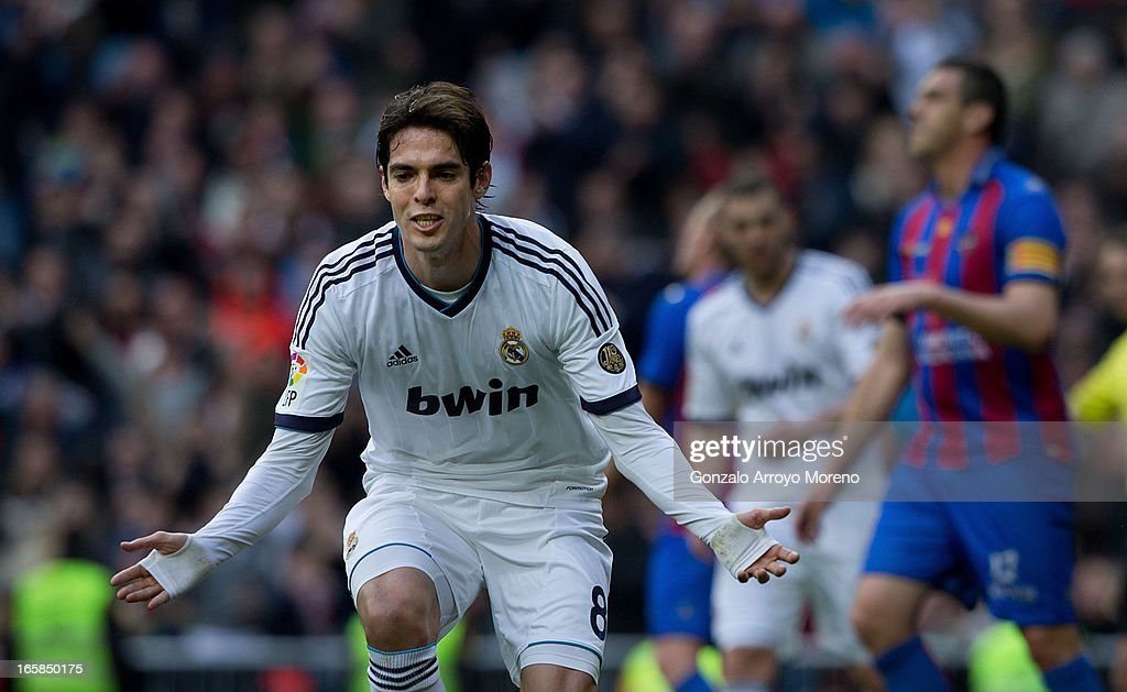 Kaka of Real Madrid CF celebrates the second goal during the La Liga match between Real Madrid CF and Levante UD at Santiago Bernabeu Stadium on April 6, 2013 in Madrid, Spain.