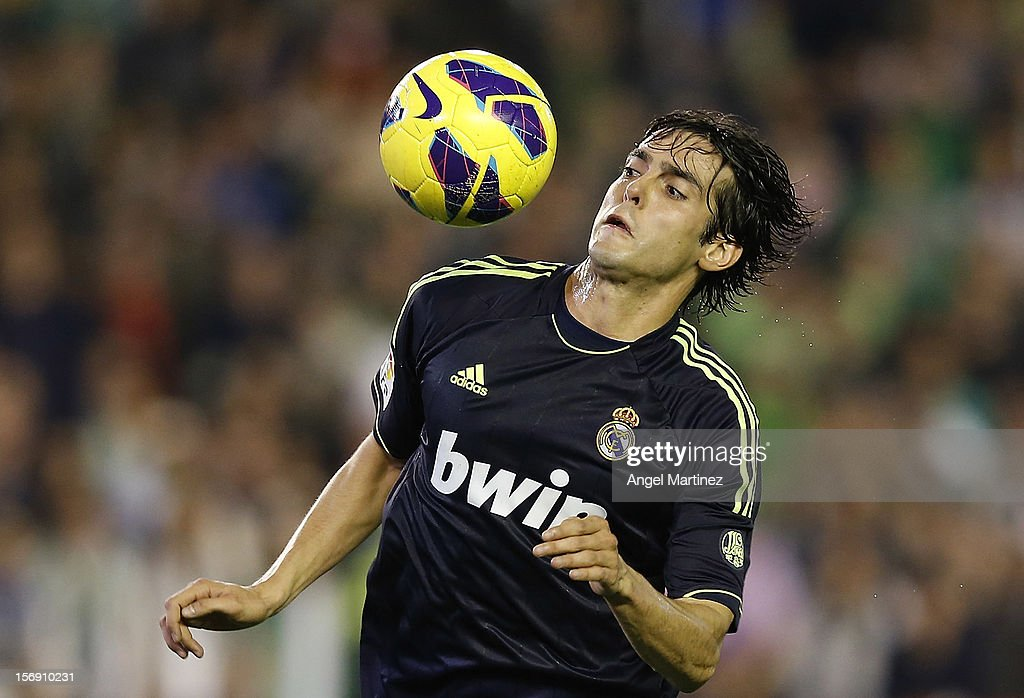 Kaka of Real Madrid controls the ball during the La Liga match between Real Betis Balompie and Real Madrid CF at Estadio Benito Villamarin on November 24, 2012 in Seville, Spain.