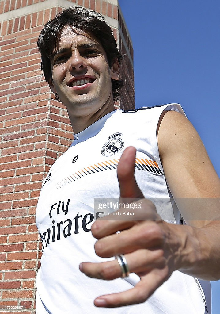 Kaka of Real Madrid gives the thumbs up during a training session at UCLA Campus on July 29, 2013 in Los Angeles, California.