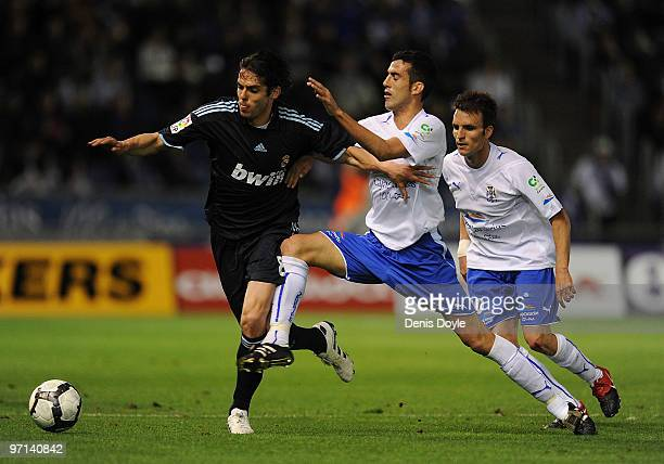 Kaka of Real Madrid is tackled by Alejandro Alfaro of Tenerife during the La Liga match between Tenerife and Real Madrid at the Heliodoro Rodriguez...