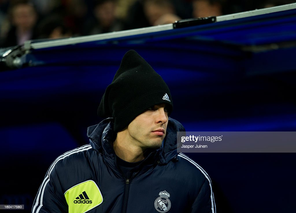 Kaka of Real Madrid leaves the tunnel to take his place on the bench prior to the start of the Copa del Rey semi final first leg match between Real Madrid CF and FC Barcelona at the Estadio Santiago Bernabeu on January 30, 2013 in Madrid, Spain.