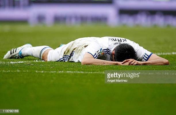 Kaka of Real Madrid lies on the field during the La Liga match between Real Madrid and Real Zaragoza at Estadio Santiago Bernabeu on April 30 2011 in...