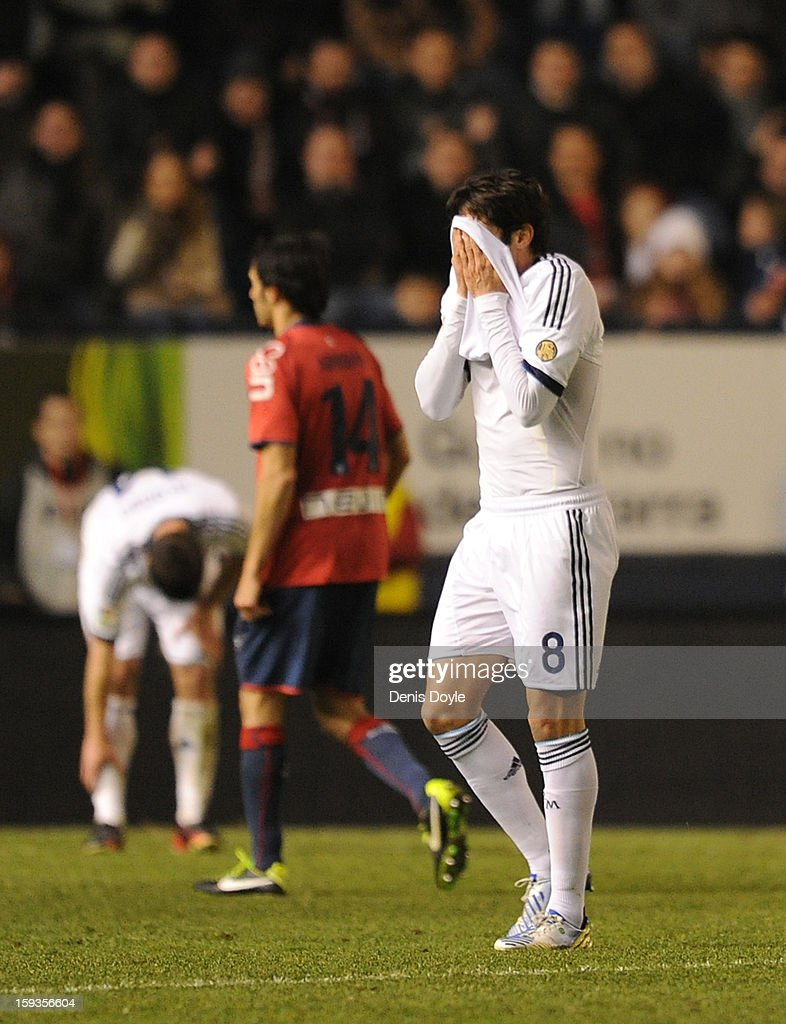 Kaka of Real Madrid reacts after being shown the red card during the La Liga match between Osasuna and Real Madrid at estadio Reino de Navarra on January 12, 2013 in Pamplona, Spain.