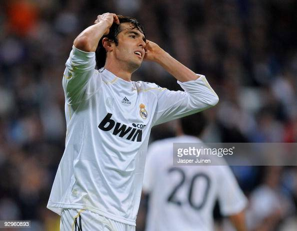 Kaka of Real Madrid reacts after failing to score during the Copa del Rey fourth round second leg match between Real Madrid and AD Alcorcon at the...