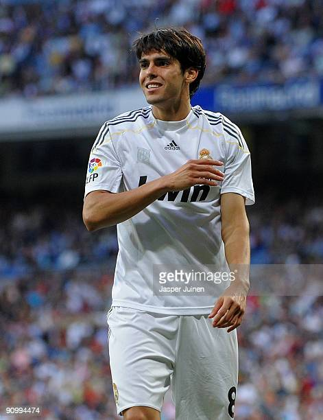 Kaka of Real Madrid reacts as he fails to score during the La Liga match between Real Madrid and Xerez at the Estadio Santiago Bernabeu on September...