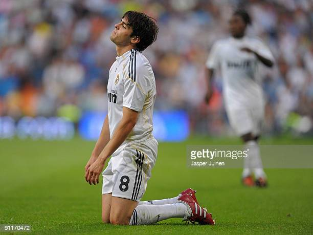 Kaka of Real Madrid reacts during the La Liga match between Real Madrid and Tenerife at the Estadio Santiago Bernabeu on September 26 2009 in Madrid...