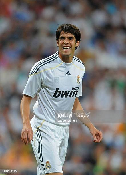 Kaka of Real Madrid reacts during the Santiago Bernabeu Trophy match between Real Madrid and Rosenborg at the Santiago Bernabeu stadium on August 24...