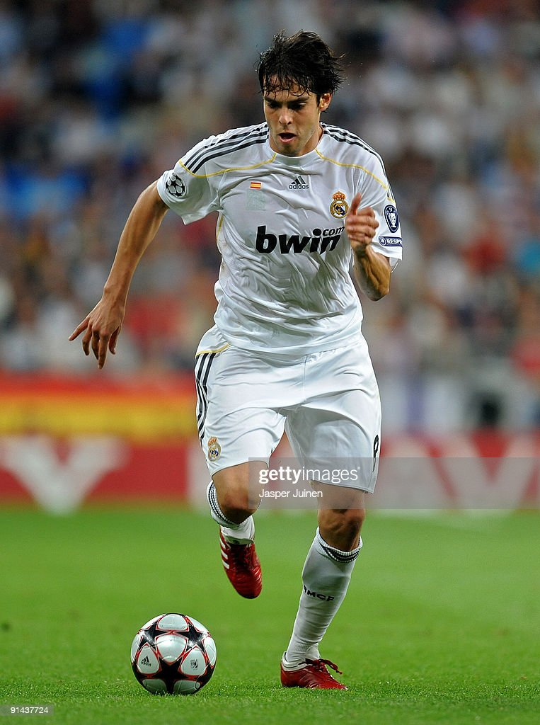 Kaka of Real Madrid runs with the ball during the Champions League group C match between Real Madrid and Marseille at the Estadio Santiago Bernabeu...