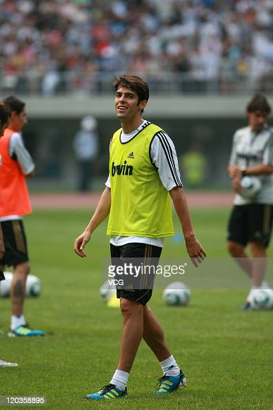 Kaka of Real Madrid smiles during a training session at Tianjin Water Drop Stadium on August 4 2011 in Tianjin China