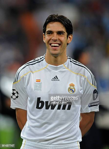 Kaka of Real Madrid smiles prior to the Champions League group C match between Real Madrid and Marseille at the Estadio Santiago Bernabeu on...