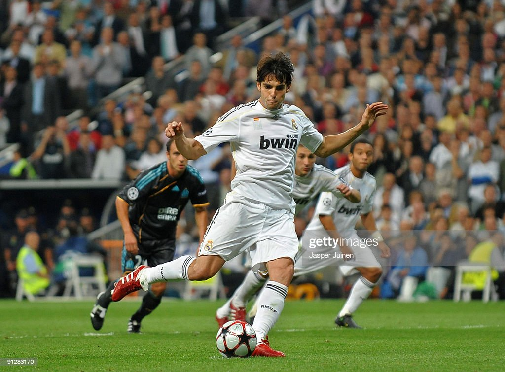 Kaka of Real madrid strikes to score from the penalty spot during the Champions League group C match between Real Madrid and Marseille at the Estadio Santiago Bernabeu on September 30, 2009 in Madrid, Spain.