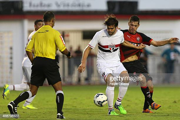 Kaka of Sao Paulo battles for the ball during the match between Vitoria and Sao Paulo as part of Brasileirao Series A 2014 at Estadio Manoel Barradas...