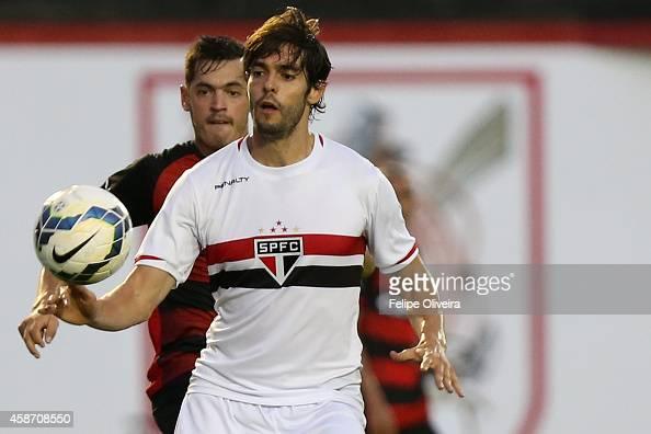 Kaka of Sao Paulo battles for the ball during the match between Vitoria and Sao Paulo as part of Brasileirao Series A 2014 at Estadio Manoel Barradas...