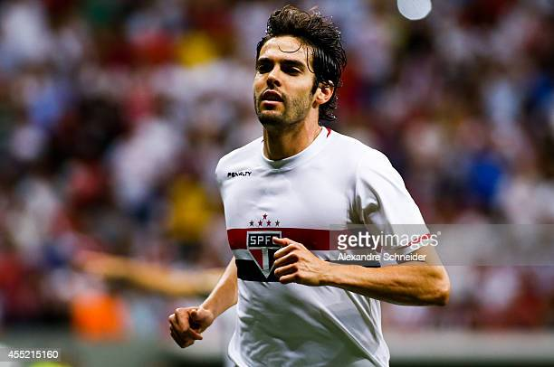 Kaka of Sao Paulo in action during the match between Botafogo and Sao Paulo for the Brazilian Series A 2014 at Mane Garrincha stadium on September 10...