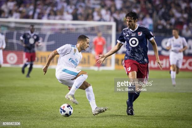 Kaka of the MLS AllStars looks to stop the advance of Lucas Vazquez of Real Madrid during the MLS AllStar match between the MLS AllStars and Real...