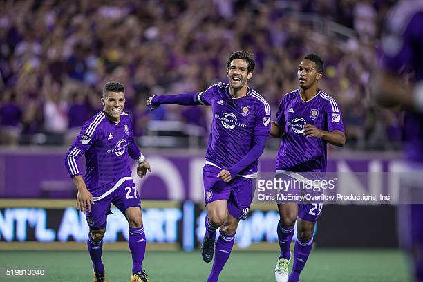 Kaka Rafael Ramos and Tommy Redding of Orlando City SC celebrate after the opening goal against the Portland Timbers at the Citrus Bowl on April 3...