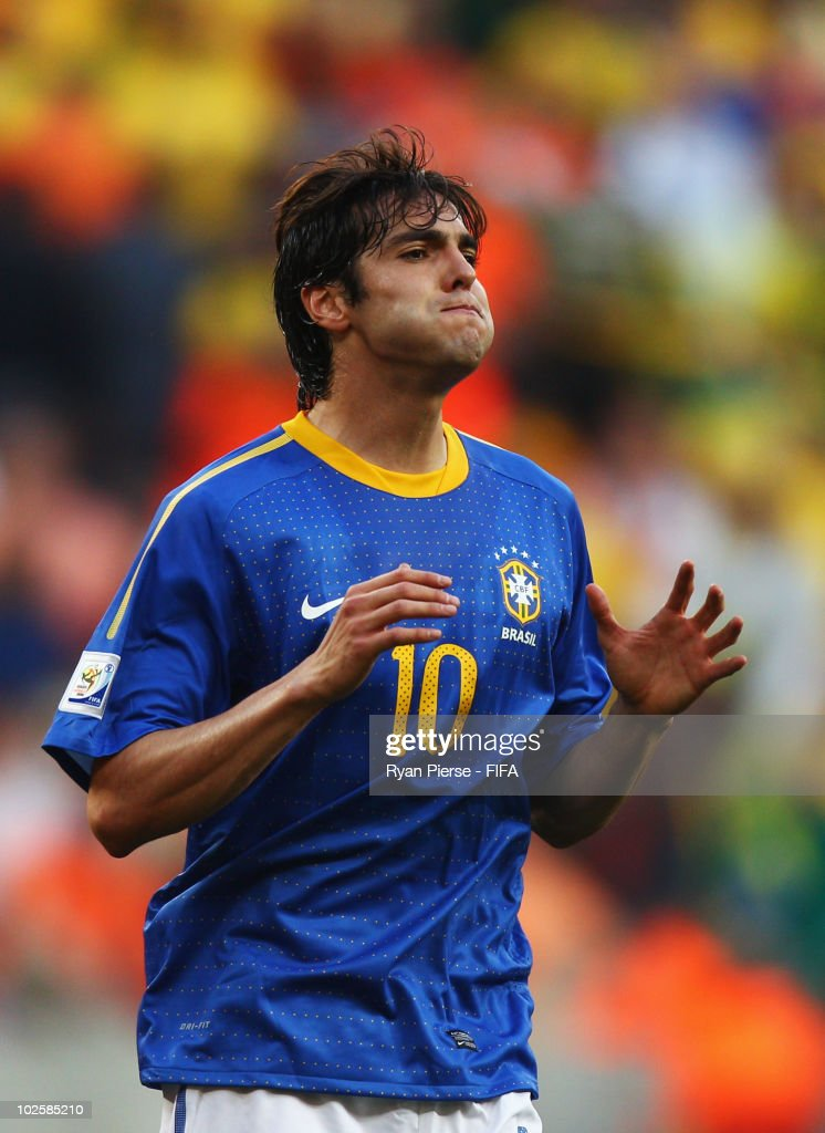 Kaka reacts during the 2010 FIFA World Cup South Africa Quarter Final match between Netherlands and Brazil at Nelson Mandela Bay Stadium on July 2, 2010 in Nelson Mandela Bay/Port Elizabeth, South Africa.
