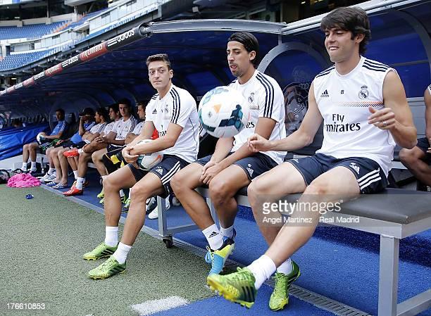 Kaka Sami Khedira and Mesut Ozil of Real Madrid attend a training session at Estadio Santiago Bernabeu on August 16 2013 in Madrid Spain