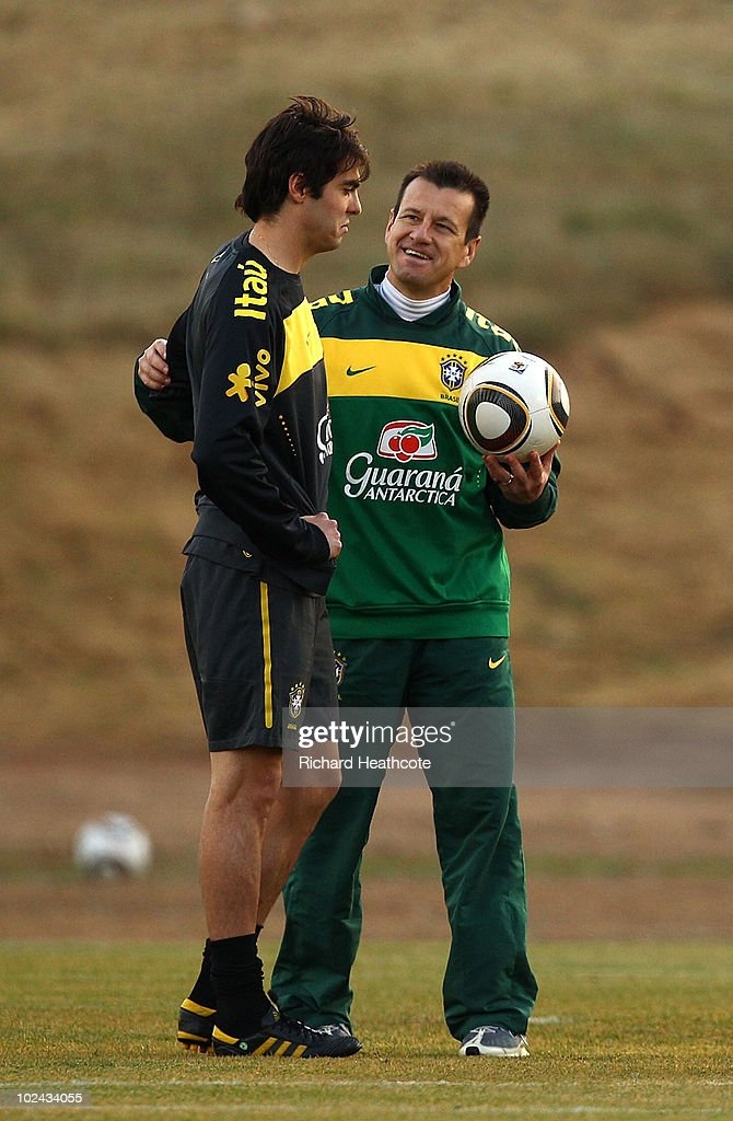 Kaka talks with Head Coach Dunga during the Brazil team training session at St Stithians College on June 26 2010 in Johannesburg South Africa The...