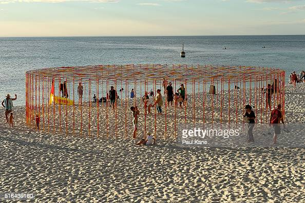 'Kakashi' by artist Zilvinas Kempinas is seen during Sculpture By The Sea 2016 at Cottesloe Beach on March 18 2016 in Perth Australia