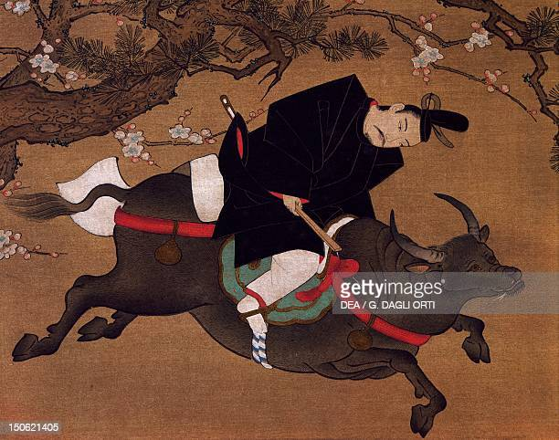 Kakemono painting on paper depicting Tenjin or Kanko as if seen in a dream Japanese civilization 17th century