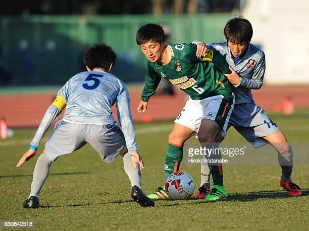 Kakeru Suminaga of Aomori Yamada and Kouta Ogura of Seiwa Gakuen compete for the ball during the 95th All Japan High School Soccer Tournament third...