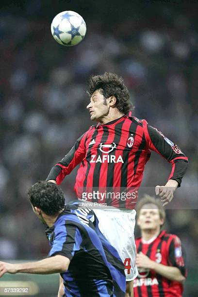 Kakha Kaladze of AC Milan goes up for a header during the Serie A match between AC Milan and Inter Milan at the San Siro on April 14 2006 in Milan...