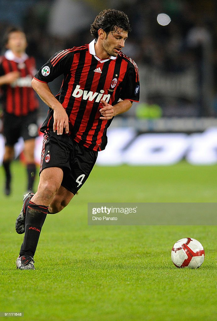 <a gi-track='captionPersonalityLinkClicked' href=/galleries/search?phrase=Kakha+Kaladze&family=editorial&specificpeople=646904 ng-click='$event.stopPropagation()'>Kakha Kaladze</a> of AC Milan in action during the serie A match between Udinese Calcio and AC Milan at Stadio Friuli on September 23, 2009 in Udine, Italy.