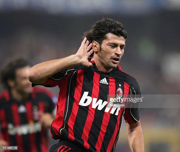 Kakha Kaladze of Milan celebrates scoring during the Serie A match between Sampdoria and AC Milan at Luigi Ferraris stadium on October 14 2006 in...