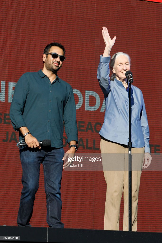 Kal Penn and Jane Goodall speak during the 2017 Global Citizen Festival at The Great Lawn of Central Park on September 23, 2017 in New York City.