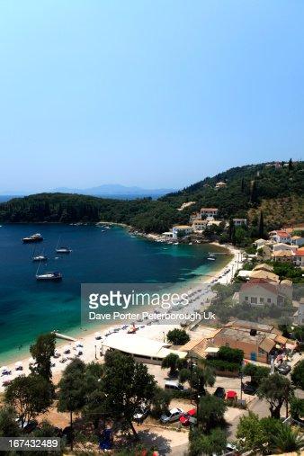 Kalami beach resort, Corfu Island : Foto de stock