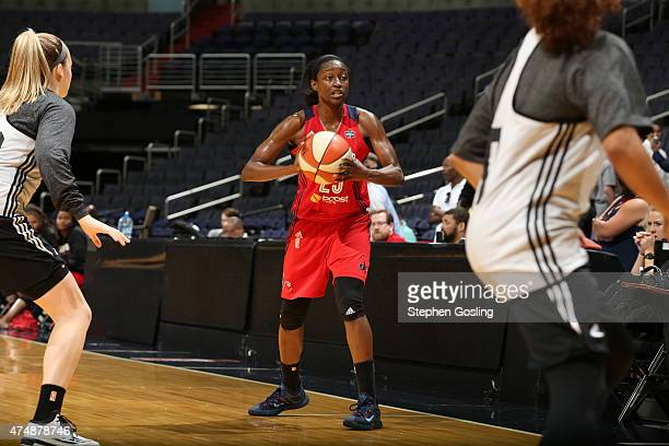 Kalana Greene of the Washington Mystics handles the ball against the Minnesota Lynx during an Analytic Scrimmage at the Verizon Center on May 26 2015...