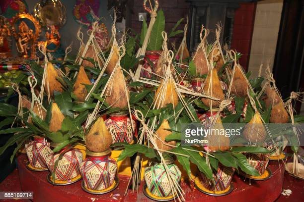 Kalash ready for special prayers during the Mahotsava Festival at a Hindu temple in Ontario Canada