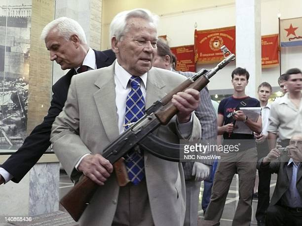 NBC NEWS Kalashnikov 60th Anniversary Pictured Mikhail Kalashnikov holding original AK47 rifle at the ceremony celebrating the 60th anniversary of...