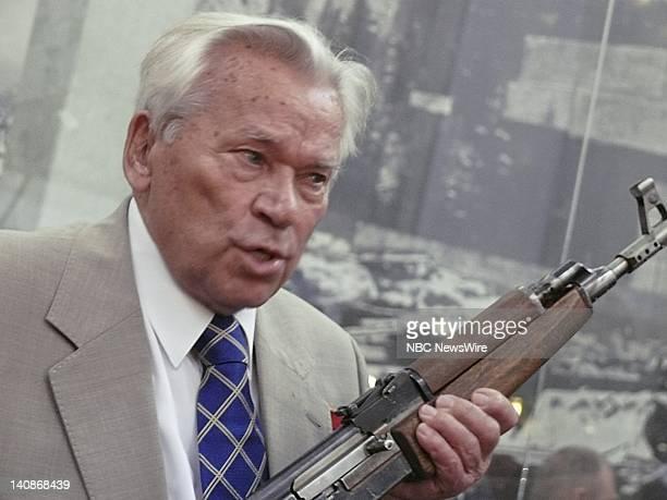 NBC NEWS Kalashnikov 60th Anniversary Pictured Mikhail Kalashnikov holding original AK47 rifle at the ceremony celebrating the 60th anniversary of...