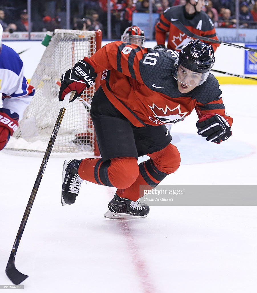 Kale Clague #10 of Team Canada skates against Team USA during a preliminary round game in the 2017 IIHF World Junior Hockey Championship at the Air Canada Centre on December 31, 2016 in Toronto, Ontario, Canada. The USA defeated Canada 3-1.