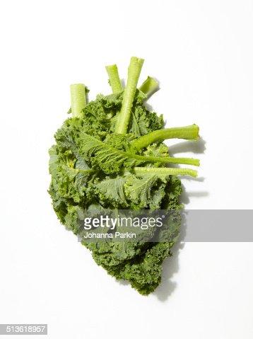 Kale in shape of a human heart