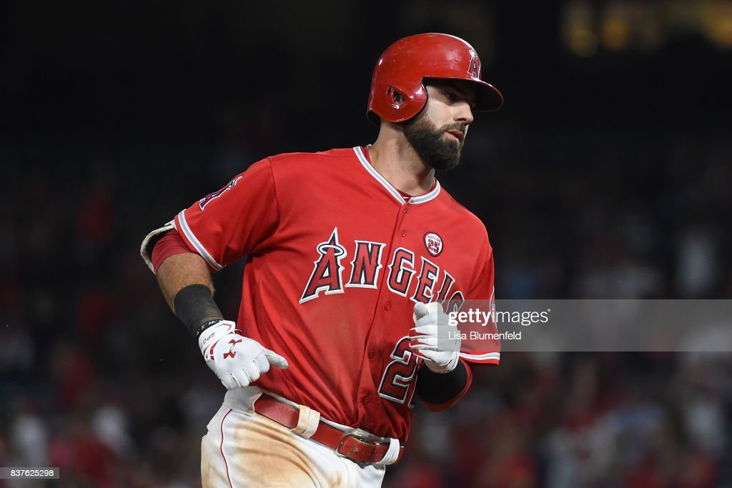 Kaleb Cowart #22 of the Los Angeles Angels of Anaheim runs the bases after hitting a three-run home run in the fifth inning against the Texas Rangers at Angel Stadium of Anaheim on August 22, 2017 in Anaheim, California.