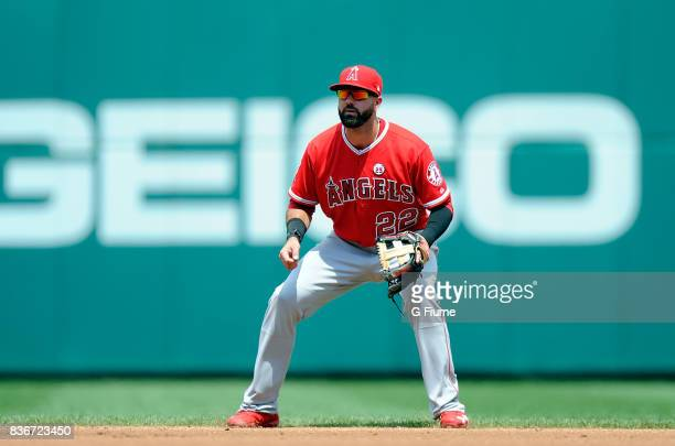 Kaleb Cowart of the Los Angeles Angels plays second base against the Washington Nationals at Nationals Park on August 16 2017 in Washington DC